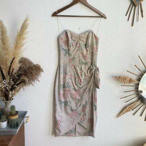 All That Jazz Vintage Corset Floral Cream Mini Faux Wrap Dress